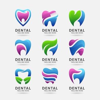 Coleção de design de logotipo dental