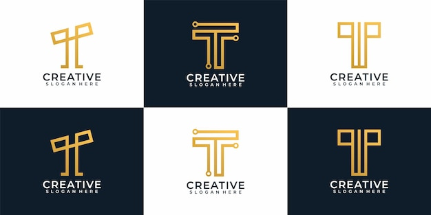 Coleção de design de logotipo digital elegante moderno letra t