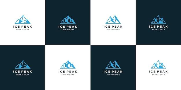 Coleção de design de logotipo do pico de gelo