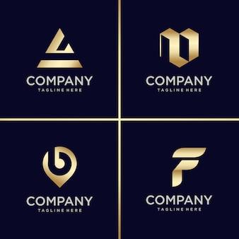 Coleção de design de logotipo dourado, carta, construção, negócios, finanças, ouro
