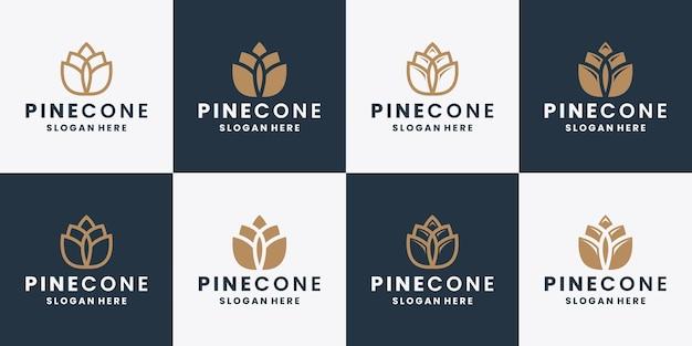 Coleção de design de logotipo em pinha, estilo simples e linha de arte vetorial