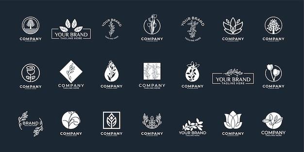 Coleção de design de logotipo feminino beauty nature