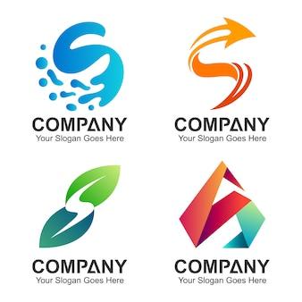 Coleção de design de logotipo inicial letra s