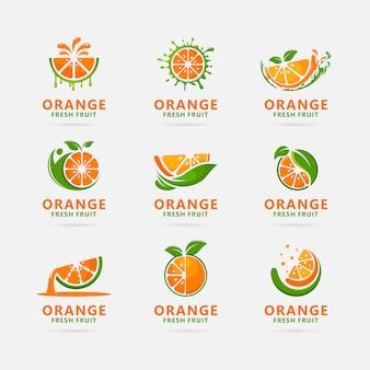 Coleção de design de logotipo laranja fruta