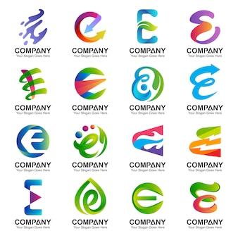 Coleção de design de logotipo letra e