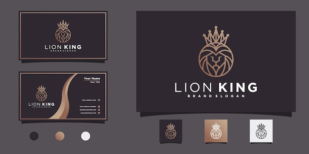 Coleção de design de logotipo minimalis of lion king com forma única de arte em linha de coroa e cabeça premium vekto