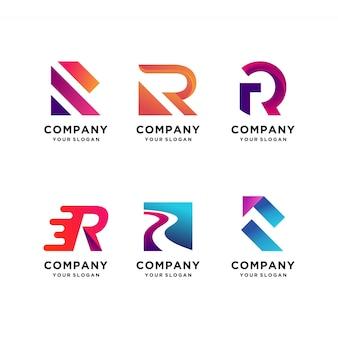 Coleção de design de logotipo moderno carta com inicial r, moderna, gradiente, abstrata, letra