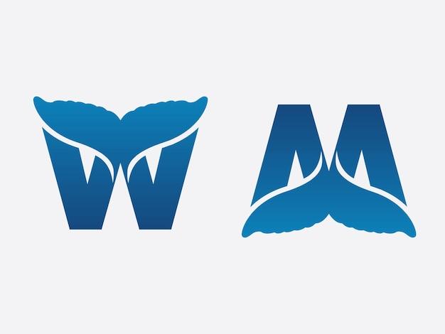 Coleção de design de logotipo moderno de cauda de baleia da letra w e da letra m