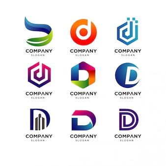 Coleção de design de logotipo moderno letra d