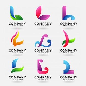 Coleção de design de logotipo moderno letra l