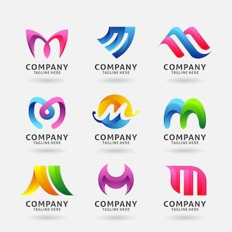 Coleção de design de logotipo moderno letra m