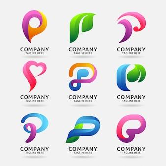 Coleção de design de logotipo moderno letra p