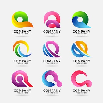 Coleção de design de logotipo moderno letra q