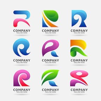 Coleção de design de logotipo moderno letra r