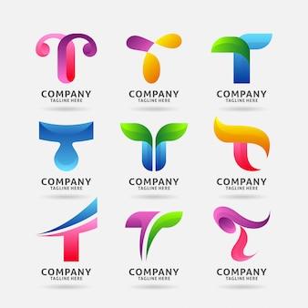 Coleção de design de logotipo moderno letra t