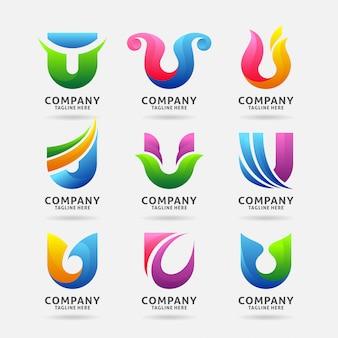 Coleção de design de logotipo moderno letra u