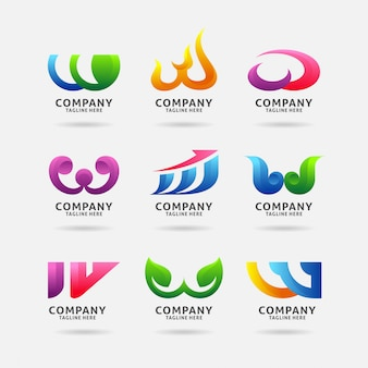 Coleção de design de logotipo moderno letra w