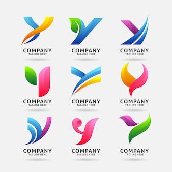Coleção de design de logotipo moderno letra y