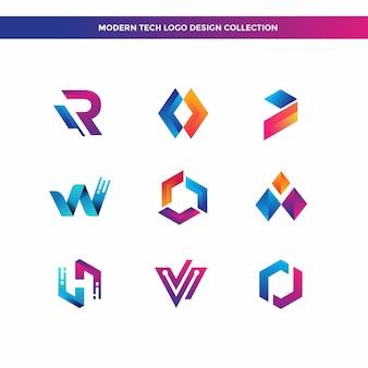 Coleção de design de logotipo moderno tech