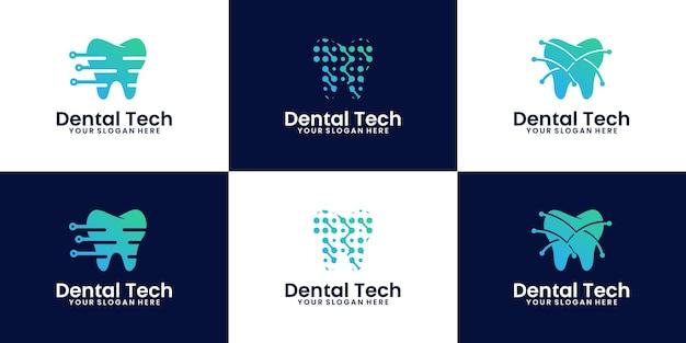Coleção de design de logotipo odontológico de tecnologia digital