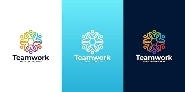 Coleção de design de logotipo para trabalho em equipe, logotipo da comunidade,
