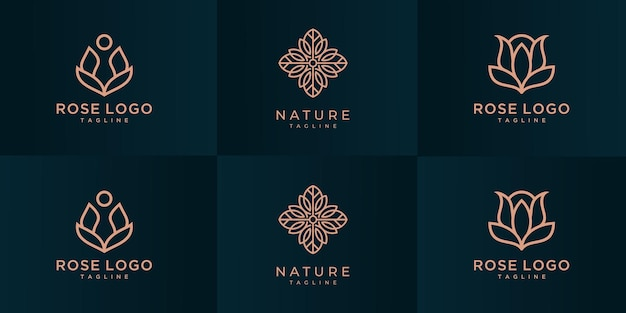 Coleção de design de logotipo rosa flor de luxo.
