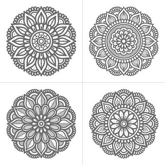 Coleção de design de mandala desenhada à mão