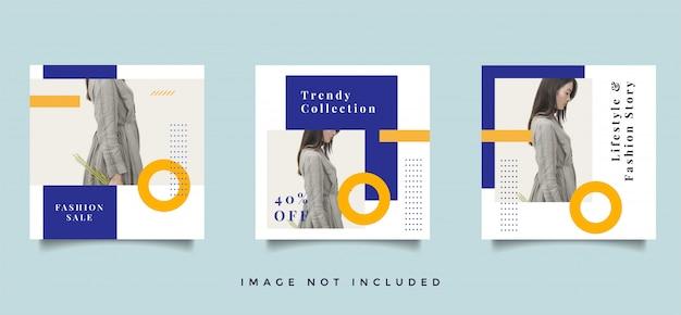 Coleção de design de moda pós-promoção de feed de mídia social