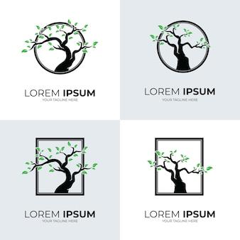Coleção de design de modelo de logotipo de árvore
