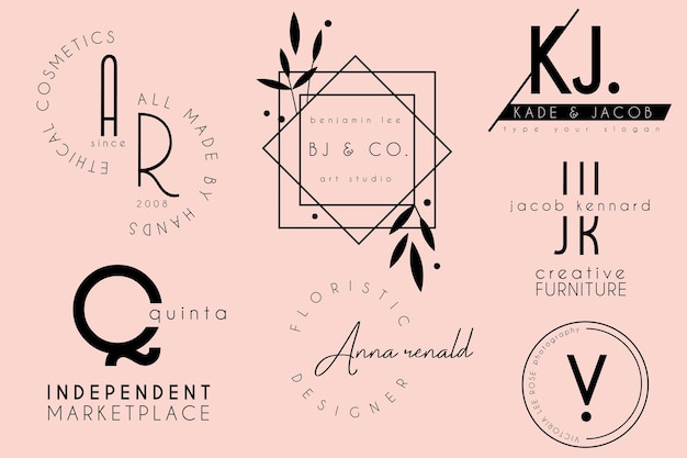 Coleção de design de modelo de logotipo feminino elegante e minimalista