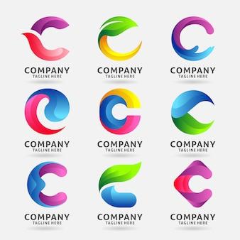 Coleção de design de modelo de logotipo moderno letra c