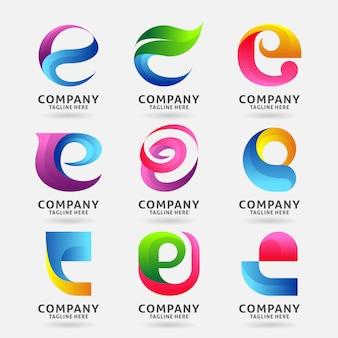 Coleção de design de modelo de logotipo moderno letra e