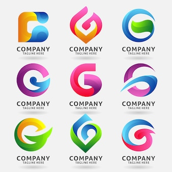 Coleção de design de modelo de logotipo moderno letra g