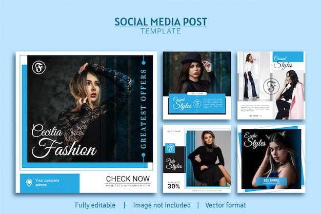 Coleção de design de modelo de postagem de mídia social de promoção de moda mulher
