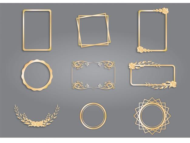 Coleção de design de moldura dourada, quadro vintage.
