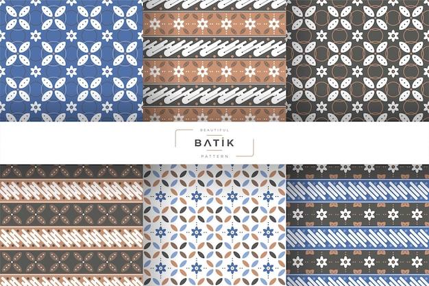 Coleção de design de padrão de batique tradicional