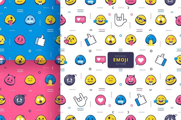 Coleção de design de padrão emoji fofa