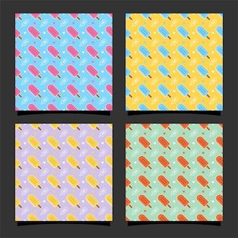 Coleção de design de padrão sem emenda de sorvete