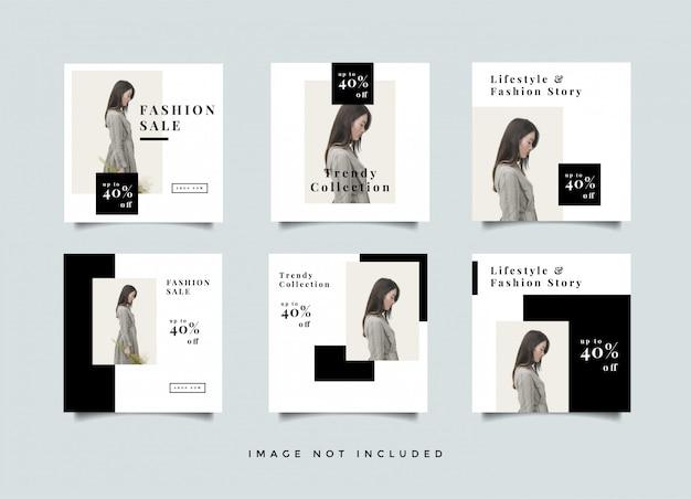 Coleção de design de pós-promoção de feed de mídia de moda social