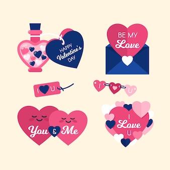 Coleção de design de rótulo bonito corações rosa dos namorados