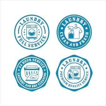 Coleção de design de selos de crachá de lavanderia