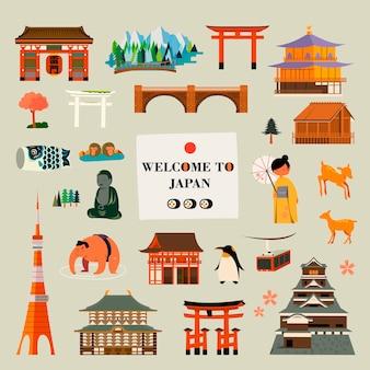 Coleção de design de símbolos de cultura e atrações do japão