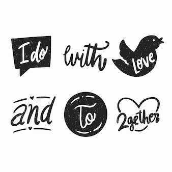 Coleção de design de slogan para convites de casamento