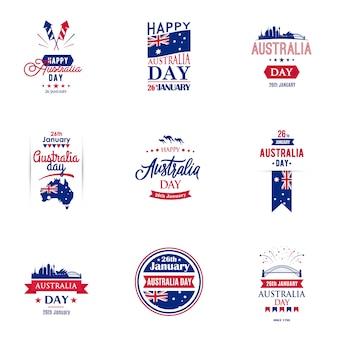 Coleção de design de tipografia de dia de austrália para banners