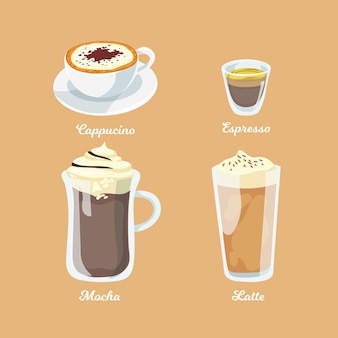 Coleção de design de tipos de café