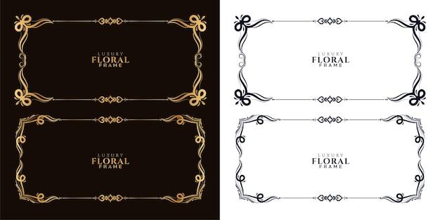 Coleção de design decorativo elegante com moldura floral