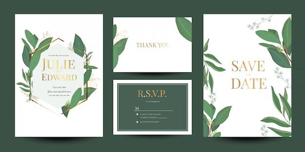 Coleção de design floral de convite de casamento