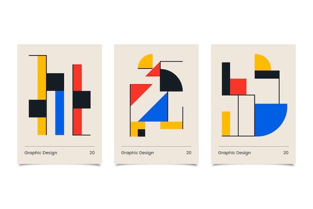 Coleção de design gráfico de capas de bauhaus