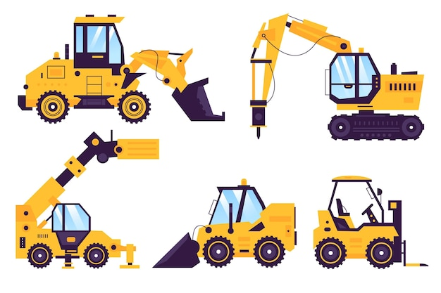 Coleção de design ilustrado de escavadeira