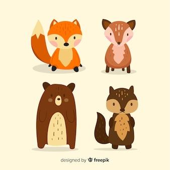 Coleção de design plano de animais da floresta outono
